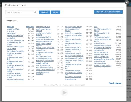 Tracking Google keyword ranking