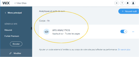 analytics for Wix