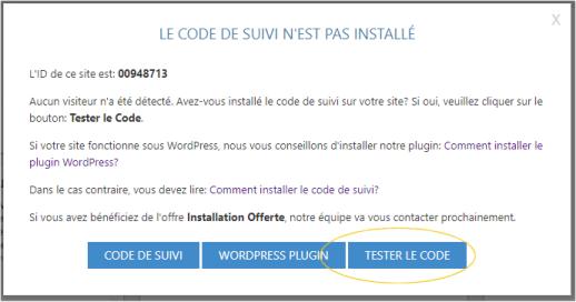 Tester installation du code de suivi