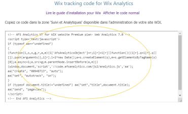 Copie du code de suivi pour les sites Wix
