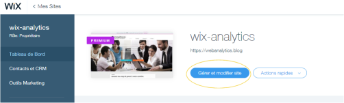 AFS analytics pour Wix