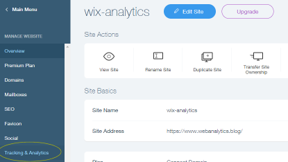 tracking & analytics for Wix